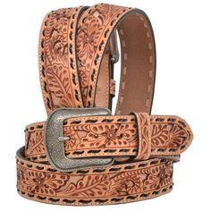 Metallic Brown Blue Floral Print Studded Leather Fashion Belt 34 3D Belt Ladies Medium