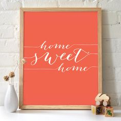 11x14 Home Sweet Home Script Typography print Coral by 2142stuart, $15.00
