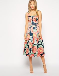 ASOS Structured Midi Dress in Vintage Floral