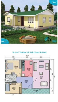 Beau Plan Cuisine The price reach of the Apartment was amazing. Little House Plans, Small House Floor Plans, Dream House Plans, Modern House Plans, Simple House Design, House Front Design, Small Bungalow, 2 Bedroom House Plans, House Construction Plan