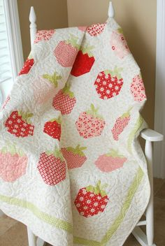 """Strawberry Social"" quilt pattern by Margot Languedoc at The Pattern Basket"