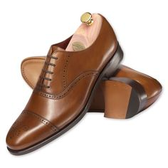 Conker brown calf leather semi-brogue shoes | Calf leather shoes from Charles Tyrwhitt, Jermyn Street, London