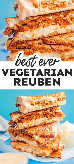 Need some new vegetarian sandwich inspiration? Dive into this vegetarian Seitan Reuben Sandwich, complete with Swiss cheese, thousand islands dressing, and sauerkraut! It's a flavor packed healthy lunch idea that's easy to make (and perfect for St. Patrick's Day!). #vegetarian #sandwich #reuben #stpatricksday Vegetarian Sandwich Recipes, Vegetarian Lunch, Healthy Eating Recipes, Lunch Recipes, Healthy Food, Dinner Recipes, Dessert Recipes, Dinner Ideas, Fun Food