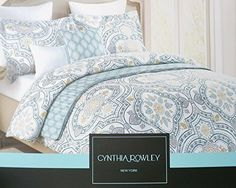 Cynthia Rowley Duvet Cover Ornate Boteh Paisley Medallion Print in Blue Grey 3 Piece Bedding Set in Full Queen or King Size (Queen)