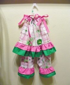 JOHN DEERE outfit set pillowcase dress top and by carolynavann, $43.00