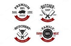 Butcher Shop Emblems by Vecster on Creative Market