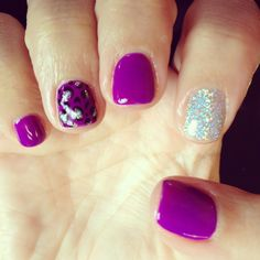 Nails shellac gelish gel nails purple glitter silver cheetah
