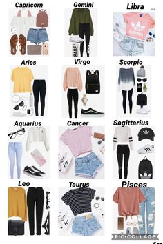 Zodiac Sign Game: Outfits #zodiacsignsoutfits Mach your zodiac sign to the corresponding outfit.