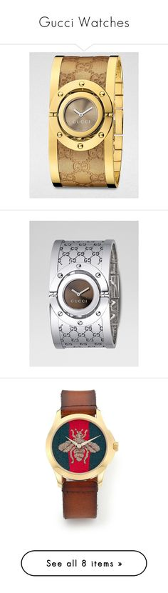 """Gucci Watches"" by bleubeauty1 on Polyvore featuring jewelry, watches, gucci, apparel & accessories, stainless steel bangles, bangle watches, leather bangle bracelet, stainless steel watches, leather wrist watch and brown"