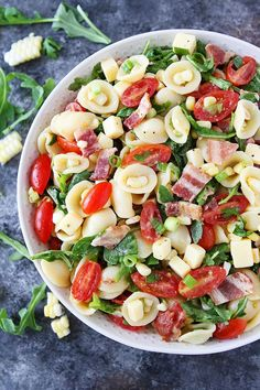 Bacon Corn Tomato Pasta Salad is the perfect summer pasta salad. Great for potlucks, picnics, and BBQ's.
