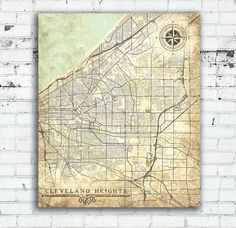CLEVELAND HEIGHTS Canvas print Ohio OH Vintage map Cleveland Heights Ohio City Vintage Antique Art poster Vintage retro Old map United State