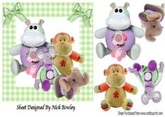 Cuddly Toys stuffed with love in gingham with bows on Craftsuprint - Add To Basket!