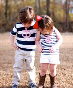 Matching nautical tops for brother & sister!    Boys Seersucker Anchor Shirt 2T 3T 4T by ElliGreyStyle on Etsy, $18.00