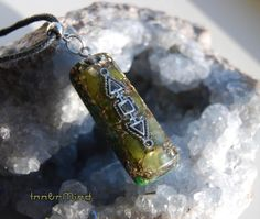 Orgonite Necklace Peridot Pendant Rectangle Unisex with by InnerMind