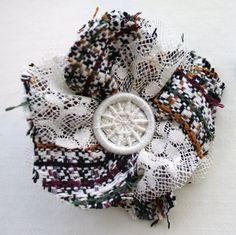 Dorset Button with silk tweed and lace Corsage, brooch and hairclip combined