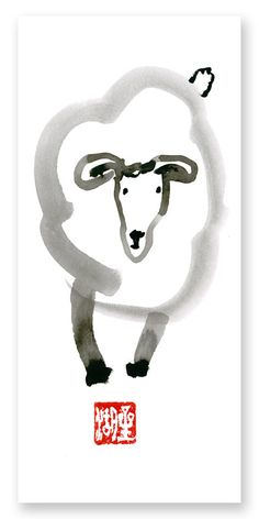 Chinese New Year 2015 Year of the Sheep Chinese Zodiac Original Zen Sumi ink Painting by ZenBrush