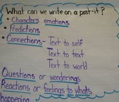 Anchor chart: How to use post-it notes to keep track reading