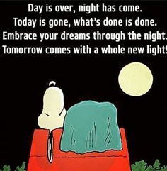 Good night sweet dreams my friend and rest well may God bless you and your family. Snoopy Love, Charlie Brown And Snoopy, Snoopy And Woodstock, Great Quotes, Quotes To Live By, Me Quotes, Inspirational Quotes, Funny Good Night Quotes, Snoopy Quotes