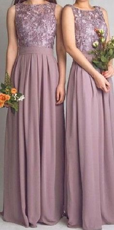 Sleeveless Chiffon Bridesmaid Dress with Lace Applique