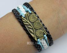 Antique bronze owls bracelet,wax rope woven rope charm jewelry bracelet gift