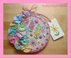 Button Fayre machine sewn and hand sewn embroidered 8 inch hoop.
