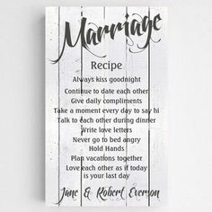 Rustic Chic Recipe for Marriage Sign - Personalized Marriage Recipe Sign - Couples Gifts - Personalized Wedding Gifts - WHITEWOOD Recipe For Marriage, Healthy Marriage, Happy Marriage, Marriage Advice, Love And Marriage, Perfect Marriage, Relationship Tips, Gifts For Marriage, Marriage Poems