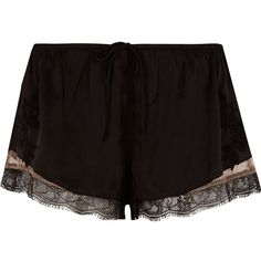 River Island Black satin floral lace hem pajama shorts ($32) ❤ liked on Polyvore featuring intimates, sleepwear, pajamas, shorts, black, lingerie & sleepwear, pajamas / loungewear, women, satin pjs and lacy lingerie
