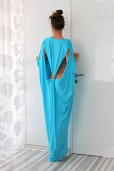 Open Back Turquoise Maxi caftan dress Plus size Maxi Oversized Long Elastic Cotton Party Day Beach Casual Spring Summer Dress