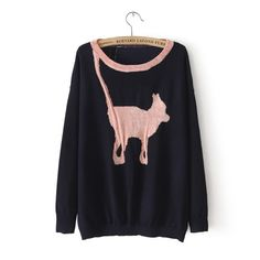 Cat print sweater two colors