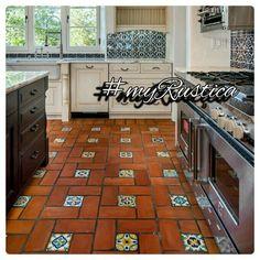 Rustic floor tiles handmade in Mexico of red clay for decorating kitchen, bath, veranda colonial style hacienda homes. #myrustica