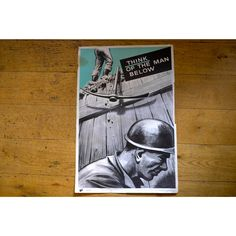 1960s/70s Health & Safety Poster - Think Of The Man Below (Pick Axe) - Pedlars Friday Vintage