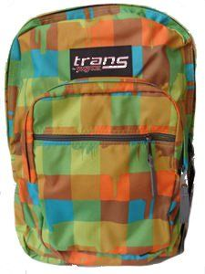 """Trans Jansport Supermax Checkered Backpack. Trans Jansport Supermax Checkered Backpack. Fits 7-8 Books, comfort padding, (does not contain laptop sleeve), lifetime warranty. The backpack measures approximately 19""""H * 14""""W * 8.5""""D and it has a capacity of 2200 cubic inches. See Product Description Below for full details!."""
