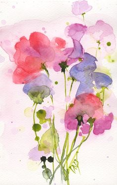 Flower Drawing Scented by Vandy Massey Watercolor Paintings For Beginners, Easy Watercolor, Watercolor Artists, Watercolor Cards, Watercolor Illustration, Floral Watercolor, Abstract Watercolor Tutorial, Simple Watercolor Flowers, Watercolour Paintings