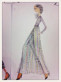 Croquis d'une robe Valentino multicolore, vu en backstage du défilé automne-hiver 2012-2013. // Sketch of a multicolored Valentino dress, seen backstage at the Fall/Winter 212-213 show.