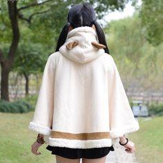 Cosplay Airou cat hoodies Monster Hunter beige cloak for girls