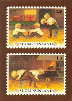 This postcard shows Finland's 1980 Christmas stamps. The stamps represent old Finnish Christmas games.