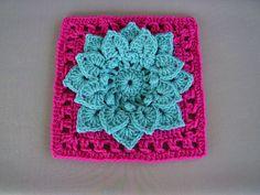 Crochet Flower Patterns Ravelry: Crocodile Stitch Afghan Block - Dahlia pattern by Joyce Lewis - Crochet Motifs, Crochet Blocks, Crochet Flower Patterns, Crochet Squares, Crochet Flowers, Crochet Stitches, Knit Crochet, Crochet Granny, Crochet Crafts