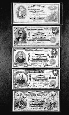 Top-Down : Two dollar bill issued in 1875, Fifty dollar bill issued in 1911, Five dollar bill issued in 1911, ten dollar bill issued in 1911, twenty dollar bill issued in 1900. Bank notes--Florida--Bartow,  Bank notes--Florida--Jacksonville,  Bank notes--Florida--Pensacola,    Bank notes--Florida--Dutton