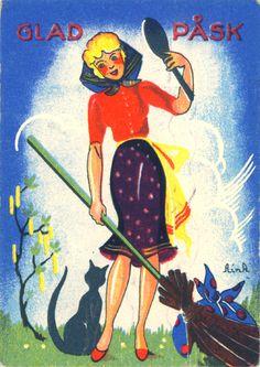 Glad Påsk ~ Swedish Easter Witch and Cat Childhood Fears, Vernal Equinox, Easter Holidays, Vintage Easter, Vintage Cards, Vintage Ephemera, My Ride, Easter Crafts, Polar Bear