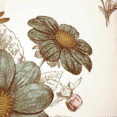 Aqua Lavender Floral Botanical Print Fabric from DuraleeFinds