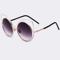1736fe173f13d Round Jeweled Sunglasses Oculos De Sol, Acessórios Femininos, Decorações De  Diamante, Óculos De