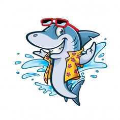 Cartoon Shark With Beachwear And Sunglasses Smiling Welcome Cute Shark, Great White Shark, Shark Art, Mascot Design, Flower Tattoo Designs, Fish Art, Megalodon, Painted Rocks, Dibujo