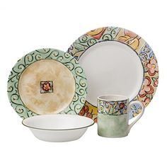 Painterly patterns in soft spring hues decorate this dinnerware set. The soft hues of green, beige, gold, blue & apricot blend in perfect harmony to complement many popular styles. Dinnerware Sets For 8, Square Dinnerware Set, Corelle Plates, Tableware, Corelle Patterns, Diy Home, Home Decor, Clean Plates, Tuscan Design
