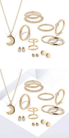 12 pcs of gold silver plated rings crystal earrings necklace jewelry set 3 piece bridal jewelry sets #gta #v #jewelry #heist #setup #jewelry #mala #set #jewelry #set #for #engagement #jewelry #setting #types