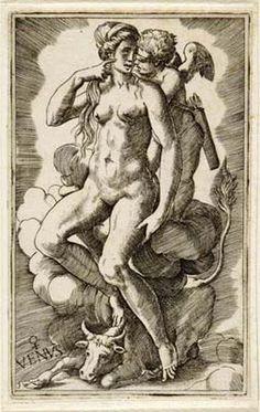 "Julius Bonasoni, ""Venus"" (with her sign(s) Taurus (and Libra?), 16th century"