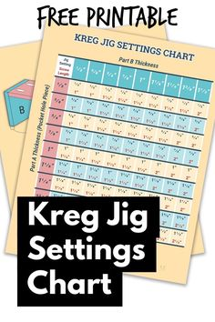 Kreg Jig Settings Chart and Calculator Use this free printable to choose the correct settings when using your Kreg Pocket Hole Jig. The chart shows settings and screw lengths for different wood thicknesses. Kreg Jig Projects, Easy Woodworking Projects, Popular Woodworking, Woodworking Shop, Woodworking Plans, Woodworking Furniture, Wood Projects, Wood Furniture, Woodworking Classes