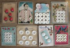 ButtonArtMuseum.com - Lot of 8 Vintage Button Cards with Beautiful Graphics