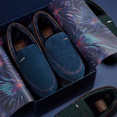 0a60fb3f418 Ted Baker MORISS 2 Mens Suede Moccasin Slippers Dark Blue The Moriss 2  men s moccasin slippers