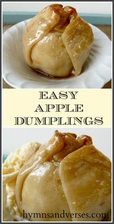 This is a classic Pennsylvania Dutch Recipe with a twist - I use ready made pie crusts for the dough! So easy and delicious! Serve warm with vanilla ice cream! snacks with apples Easy Pennsylvania Dutch Apple Dumplings - Hymns and Verses Fruit Recipes, Fall Recipes, Dessert Recipes, Apple Recipes Easy, Apple Deserts Easy, Apple Fritter Recipes, Apple Pie Recipe Easy, Recipies, Healthy Recipes