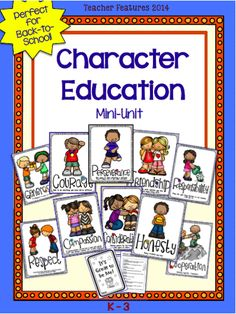 "Character Education (18 pages) 10 Anchor Charts and ""It's Great to be Me!"" 6 page booklet are perfect for the K-3 classroom! Compassion Consideration Cooperation Courage Friendship Generosity Honesty Perseverance Respect Responsibility"